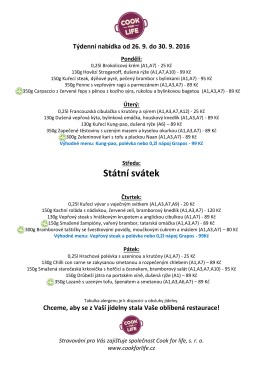 OBĚDY od 11:00 do 14:00 hod – aktuální jídelní lístek