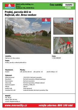 Prodej, parcela 602 m Rajhrad, okr. Brno