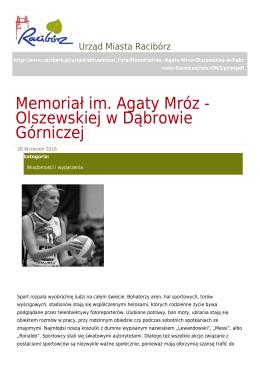 Memoriał im. Agaty Mróz - Olszewskiej w Dąbrowie