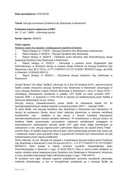 Data sporządzenia: 2016-09-26 Temat: Decyzja