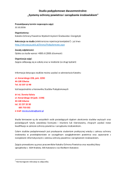 """Studia podyplomowe dwusemestralne: """"Systemy ochrony powietrza"""