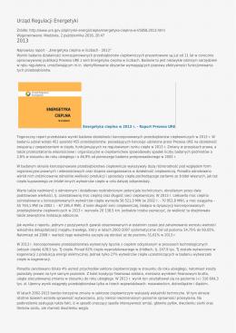 Urząd Regulacji Energetyki 2013