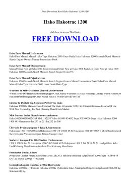 Hako Hakotrac 1200 - INDEX BOOK PDF