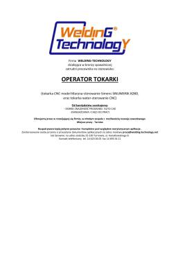 operator tokarki - Spaw-Mar