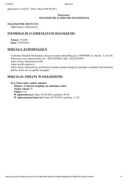 informacje o zmienianym ogłoszeniu sekcja i: zamawiający sekcja ii