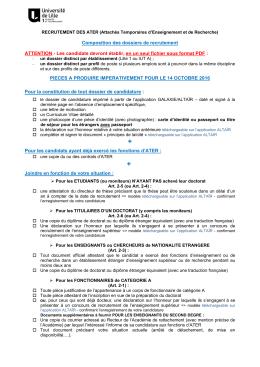 Constitution des dossiers de recrutement