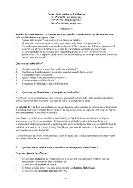 Notice : Information de l`utilisateur NovoNorm 0,5 mg, comprimés