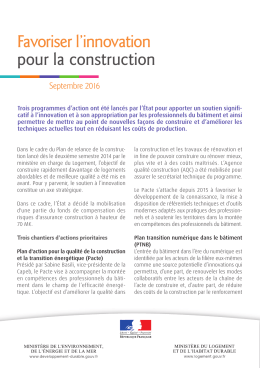 Favoriser l`innovation pour la construction