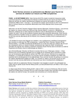 Euler Hermes annonce un partenariat avec Moody`s pour fournir de