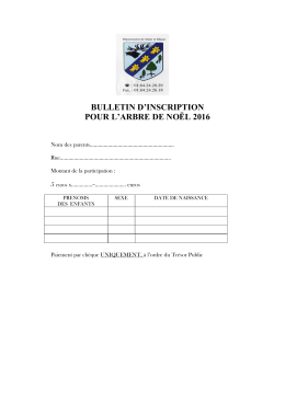 BULLETIN D`INSCRIPTION POUR L`ARBRE DE NOËL 2016