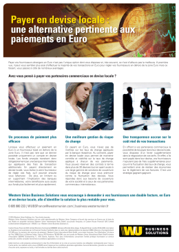 Payer en devise locale - Western Union Business Solutions