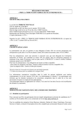 Règlement 2017 - Prix La Tribune Jeune Entrepreneur