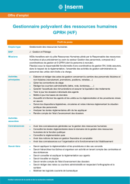 Gestionnaire polyvalent des ressources humaines GPRH (H/F)
