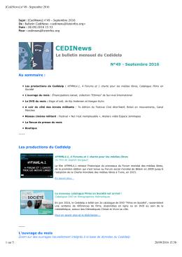 [CediNews] n°49 - Septembre 2016