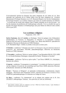Les systèmes religieux - L`Union Scientifique d`Aquitaine