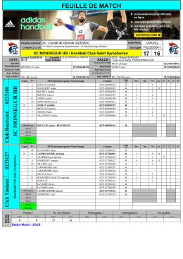 FEUILLE DE MATCH