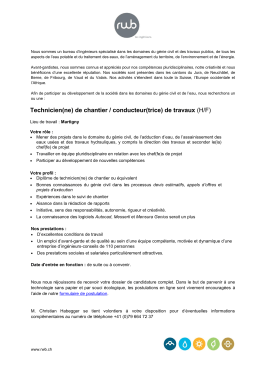 Technicien(ne) de chantier / conducteur(trice) de travaux (H/F)