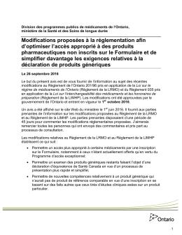 Notice from the Executive Office - Ministère de la Santé et des Soins