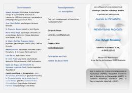 Intervenants Renseignements et inscription Journée de Périnatalité