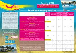 Tarifs 2017 - Camping La Yole