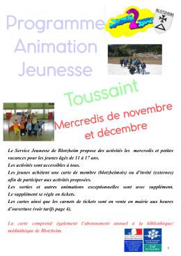 Programme Animation Jeunesse Toussaint