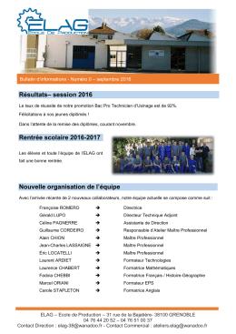 Résultats– session 2016 Rentrée scolaire 2016-2017