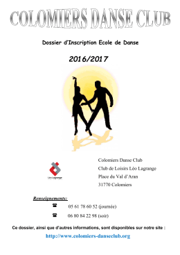 http://www.colomiers-danseclub.org Dossier d`Inscription Ecole de