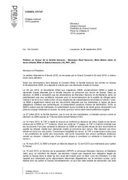 CONSEIL D`ETAT Château cantonal 1014 Lausanne Monsieur