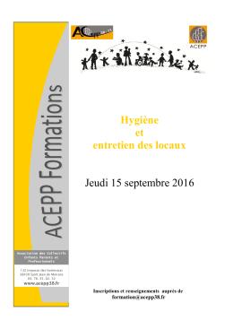 Hygiène et entretien des locaux - acepp 38-73