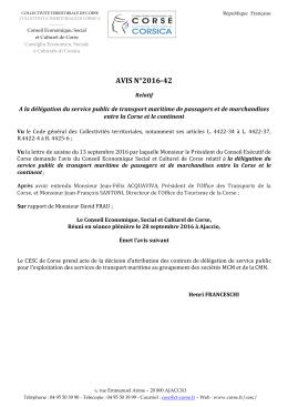 Avis CESC - Collectivité Territoriale de Corse