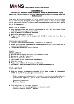 Recrutement d`un(e) gradué scientifique (biologiste, chimie