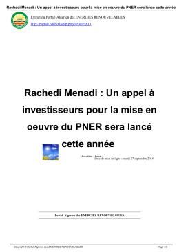 Rachedi Menadi : Un appel à investisseurs pour la mise en oeuvre