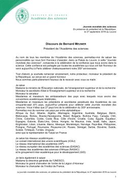 Discours de Bernard Meunier à l`occasion de la Journée mondiale
