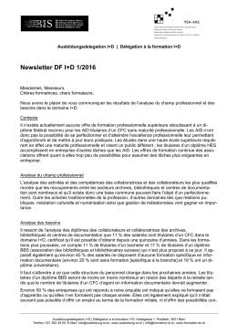 Newsletter DF I+D 1/2016 - DÉLÉGATION À LA FORMATION
