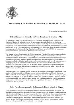 Réaction Alep - Didier Reynders