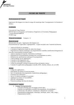 ingénieur développeur - supléance - Université Cergy