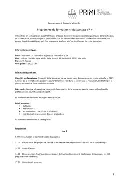 Programme de formation « Masterclass VR