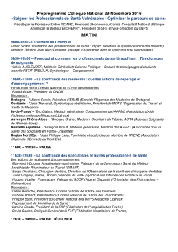 Préprogramme Colloque National 29 Novembre 2016