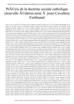 Précis de la doctrine sociale catholique (nouvelle édition mise Ã