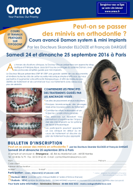 Peut-on se passer des minivis en orthodontie