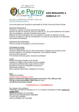 AIDE MENAGERE A DOMICILE H/F - Perray-en