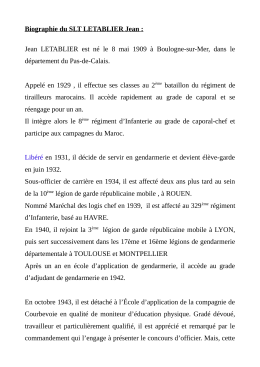 Biographie du SLT LETABLIER Jean : Jean LETABLIER est né le 8