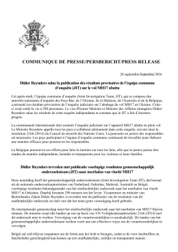 communique de presse/persbericht/press release