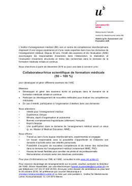 Collaborateur/trice scientifique de formation médicale (50