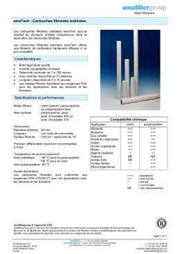 amaTech - Cartouches filtrantes bobinées Spécifications et