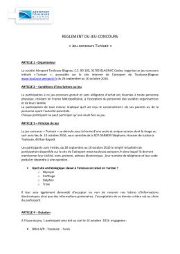reglement du jeu-concours - Aéroport Toulouse