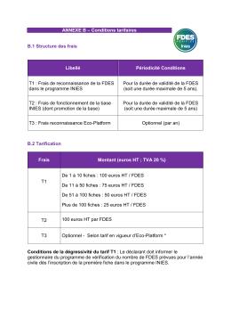 FDES vérifiée INIES : tarif en vigueur