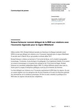 Roland Scheurer nommé délégué de la BNS aux relations avec l