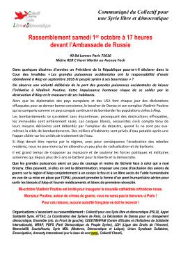 Communiqué du Collectif pour une Syrie libre et démocratique