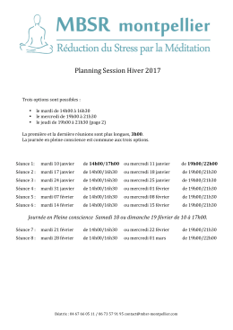 Planning Session Hiver 2017